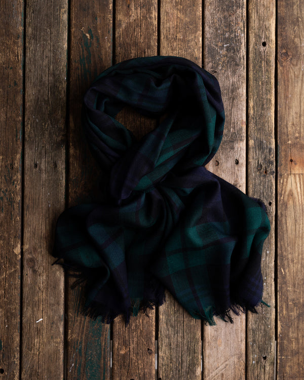 Black Watch tartan oversize merino scarf