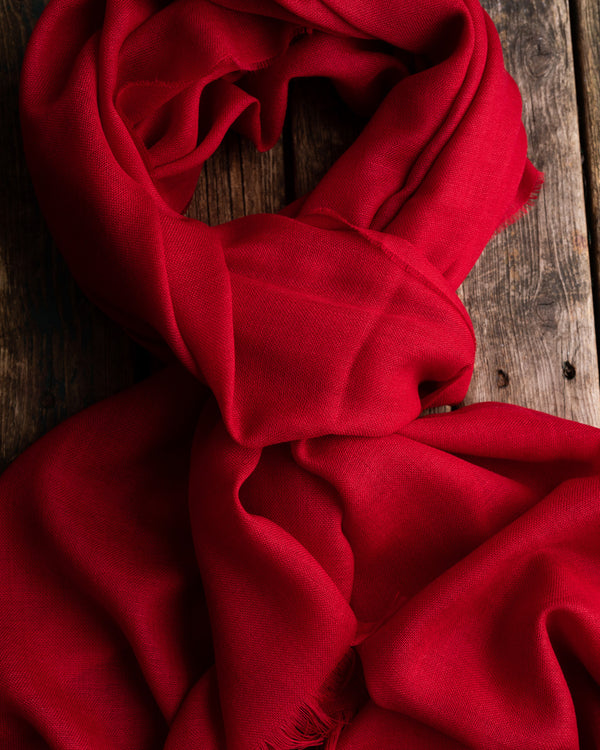 Red solid oversize merino scarf