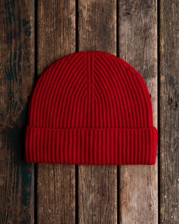 Red cashmere beanie hat watchcap