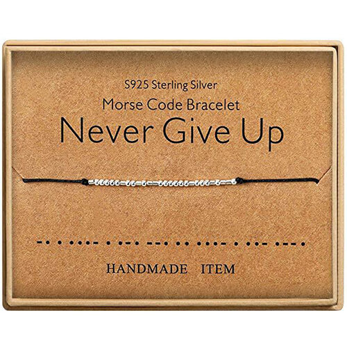 Morse Code Alphanumeric Couple Bracelet - NEVER GIVE UP