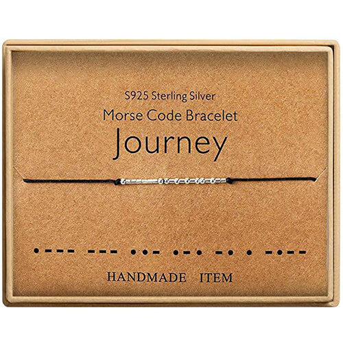 Morse Code Alphanumeric Couple Bracelet - JOURNEY