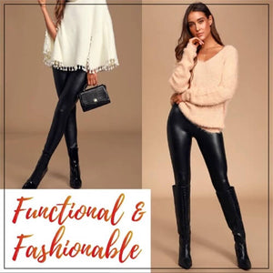 Stretch-Leather Warm Fleece Leggings