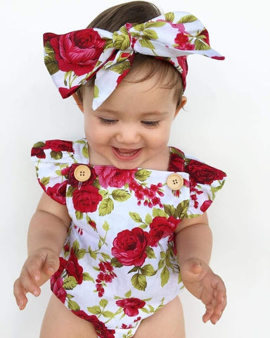 Baby girl romper with bow - Mindful Yard