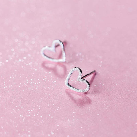 Girls Silver Heart Stud Earrings - Mindful Yard