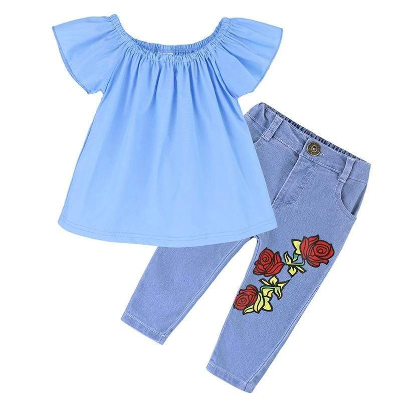 Mindful Yard Clothing Sets blue / 7 2020 Summer Fashion Sweet Teen Girls Clothing Set Children Off Shoulder Ripped Jeans Pant 2Pcs Toddler Kids Outfits Girl Clothes