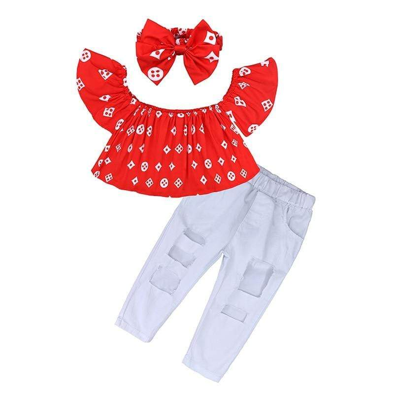Mindful Yard Clothing Sets red / 2 2020 Summer Fashion Sweet Teen Girls Clothing Set Children Off Shoulder Ripped Jeans Pant 2Pcs Toddler Kids Outfits Girl Clothes