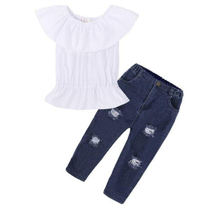 Mindful Yard Clothing Sets white / 2 2020 Summer Fashion Sweet Teen Girls Clothing Set Children Off Shoulder Ripped Jeans Pant 2Pcs Toddler Kids Outfits Girl Clothes