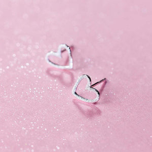 Girls Cute Tiny Hollow Silver Heart Stud Earrings - Mindful Yard