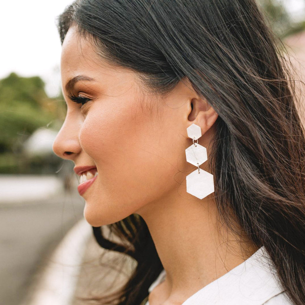 Honeycomb Capiz Earrings