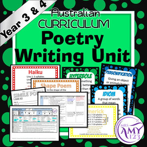 Poetry Writing Unit -Year 3 & 4- Aligned with ACARA