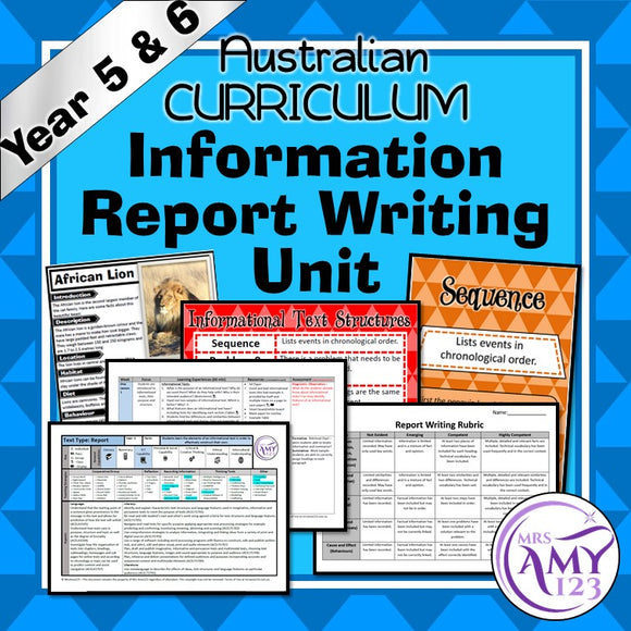 Information Report Writing Unit -Year 5 and 6- Aligned with ACARA