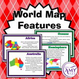 World Map Features Posters