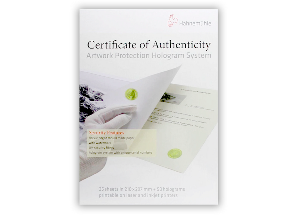Hahnemühle Certificate of Authenticity