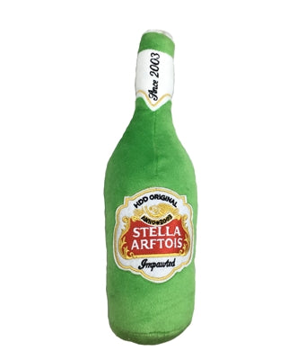 Stella Arftois Beer Bottle Plush Dog Toy