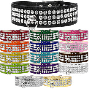 Bella's Bling 3-Row Rhinestone Croc Collar #73