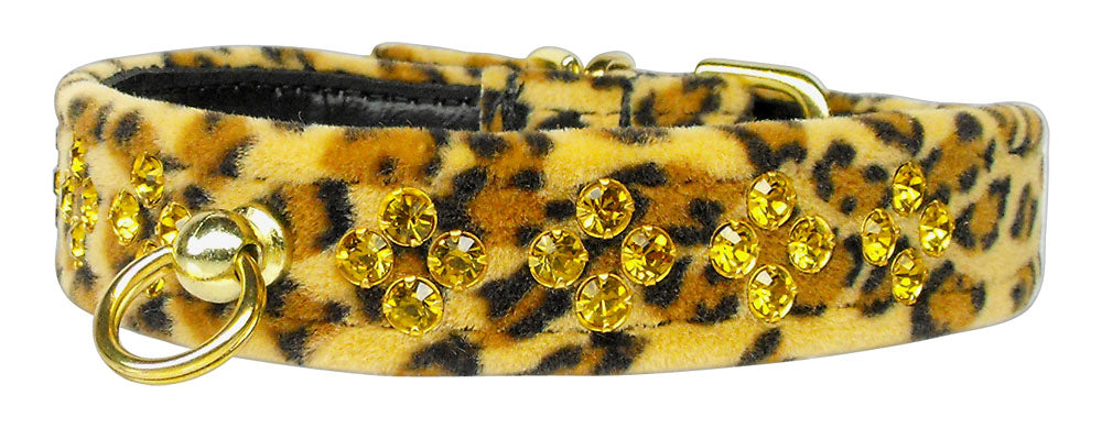 Sahara Leopard Crystal Animal Print Dog Collar - staygoldendoodle.com