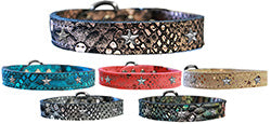 Silver Star Widget Dragon Skin Genuine Leather Dog Collar
