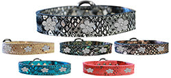 Flower Widget Dragon Skin Genuine Leather Dog Collar