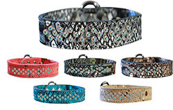 Sprinkle AB Crystal Jeweled Dragon Skin Genuine Leather Dog Collar