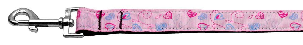 Crazy Hearts Nylon Collars Light Pink 1 Wide 4ft Lsh - staygoldendoodle.com