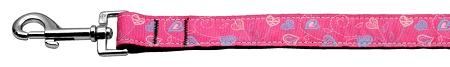 Crazy Hearts Nylon Collars Bright Pink 1 Wide 6ft Lsh - staygoldendoodle.com