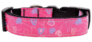 Crazy Hearts Nylon Collars Bright Pink Medium - staygoldendoodle.com