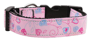 Crazy Hearts Nylon Collars Light Pink Medium - staygoldendoodle.com