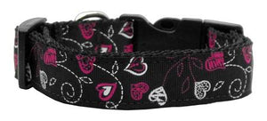 Crazy Hearts Nylon Collars Black Xs - staygoldendoodle.com