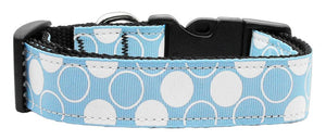 Diagonal Dots Nylon Collar  Baby Blue Large - staygoldendoodle.com