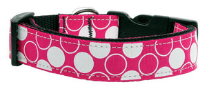 Diagonal Dots Nylon Collar  Bright Pink Large - staygoldendoodle.com