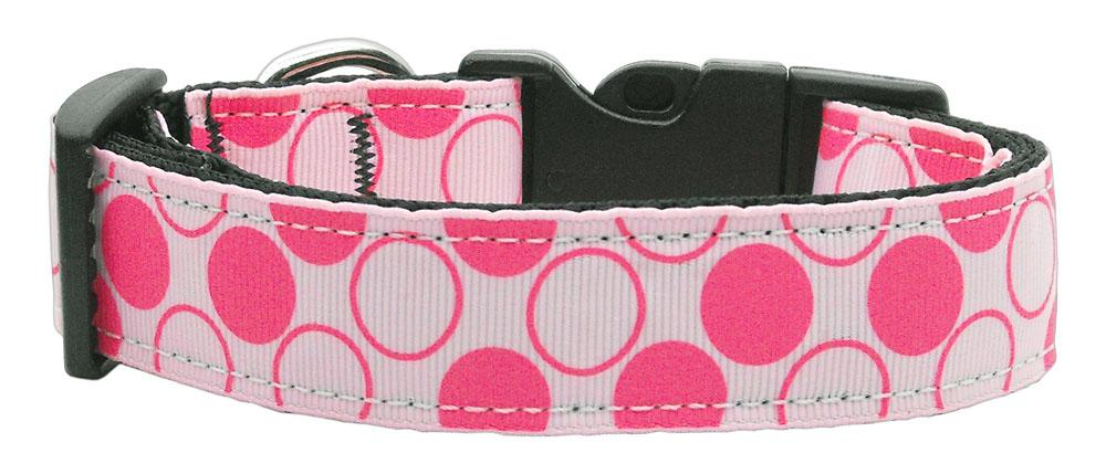 Diagonal Dots Nylon Collar  Light Pink Medium - Stay Golden Doodle