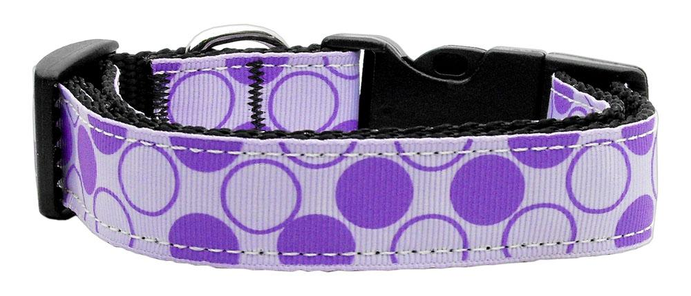 Diagonal Dots Nylon Collar  Lavender Medium - Stay Golden Doodle