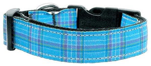 Plaid Nylon Collar  Blue Large - staygoldendoodle.com