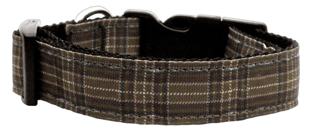 Plaid Nylon Collar  Brown Large - staygoldendoodle.com