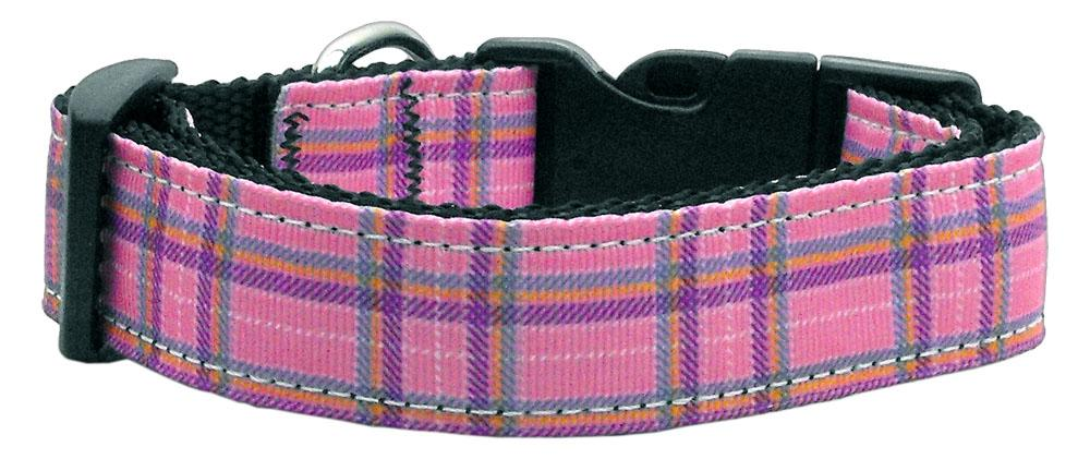 Plaid Nylon Collar  Pink Medium - staygoldendoodle.com