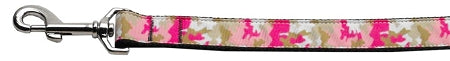 Pink Camo Nylon Dog Leash 3-8 Inch Wide 4ft Long - staygoldendoodle.com