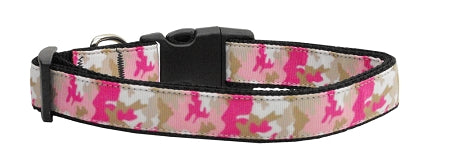 Pink Camo Nylon Dog Collar Medium Narrow - Stay Golden Doodle
