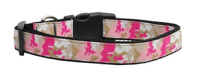 Pink Camo Nylon Dog Collar Medium Narrow - staygoldendoodle.com