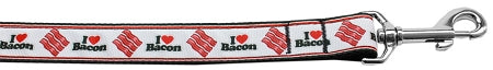 I Love Bacon Nylon Dog Leash 5-8 Inch Wide 6ft Long - staygoldendoodle.com
