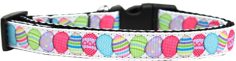 Easter Egg Nylon Ribbon Dog Collar Medium Narrow - Stay Golden Doodle