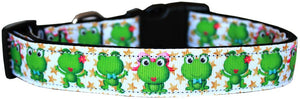 Happy Frogs Nylon Dog Collar Md - staygoldendoodle.com