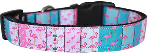 Flamingo Fun Nylon Dog Collar Md - Stay Golden Doodle