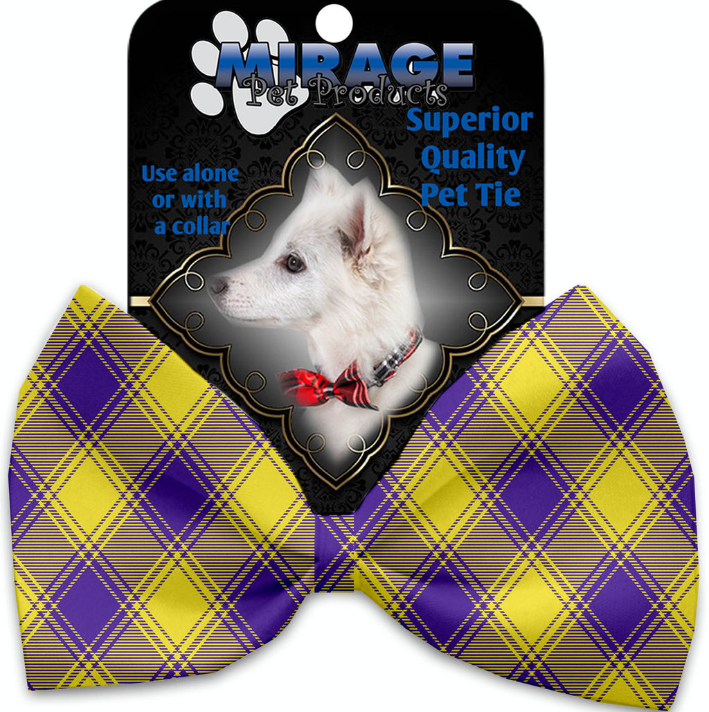 Purple And Yellow Plaid Pet Bow Tie Collar Accessory With Velcro - staygoldendoodle.com