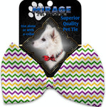 Mardi Gras Chevron Pet Bow Tie Collar Accessory With Velcro - staygoldendoodle.com
