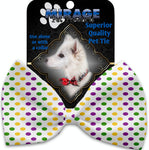 Mardi Gras Polka Dots Pet Bow Tie Collar Accessory With Velcro - staygoldendoodle.com