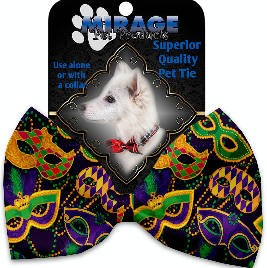 Mardi Gras Masquerade Pet Bow Tie Collar Accessory With Velcro - staygoldendoodle.com