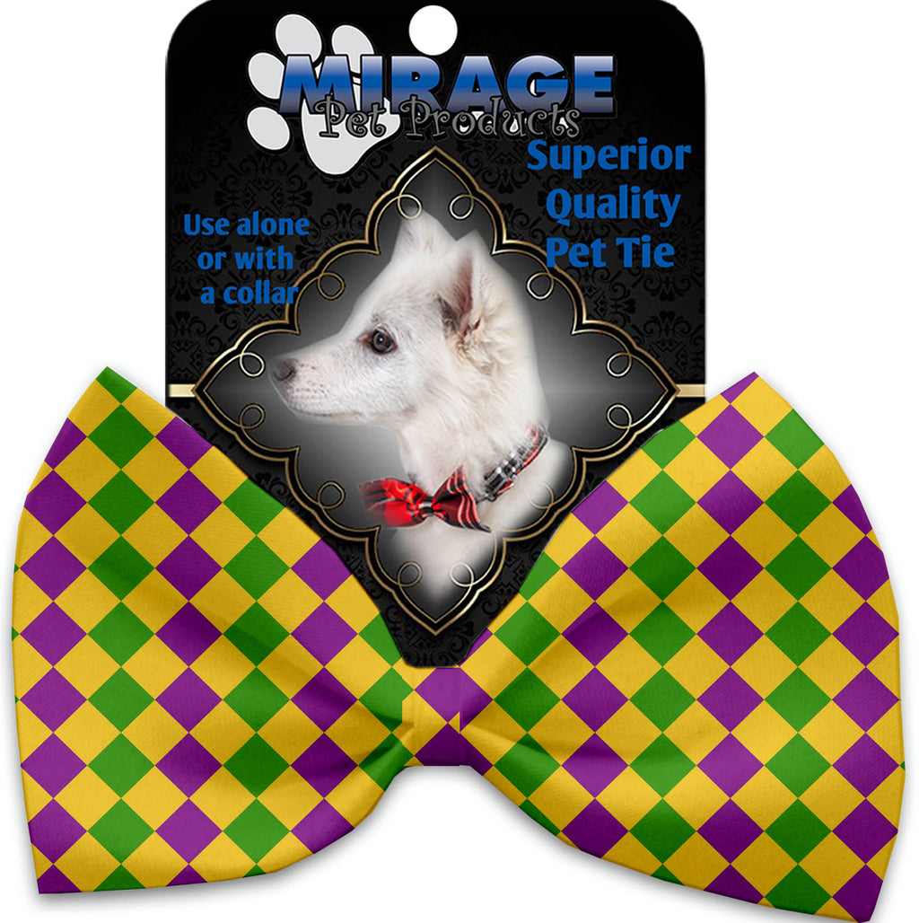 Mardi Gras Diamonds Pet Bow Tie Collar Accessory With Velcro - staygoldendoodle.com