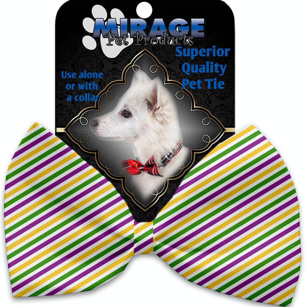 Mardi Gras Stripes Pet Bow Tie Collar Accessory With Velcro - staygoldendoodle.com