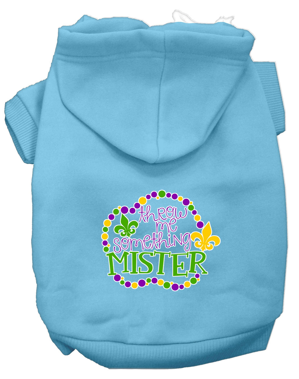 Throw Me Something Screen Print Mardi Gras Dog Hoodie Baby - staygoldendoodle.com