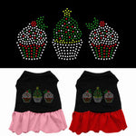 Christmas Cupcakes Rhinestone Ruffle Dress